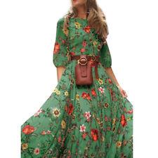 Womens Boho Long Dresses Beach Floral Maxi Dress Cocktail Party Sun Dress