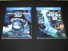 LOT OF 2 - IMAX Space Station 3D Blu-ray with Lenticular Slipcover + Deep Sea 3D