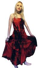Jordash Red Black Tie-Dye Laced Bodice Dress Boho Festival Pagan Freesize 10-16