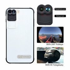 iphone 7 Plus Dual Lens-Fisheye Telephoto 2in1 Lens with free iPhone case black