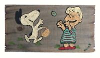 1960s Peanuts Snoopy Schroeder Original American Yarn Art Painting Signed Chick