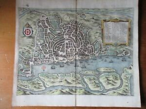 Antique ca. 1660 map of Goa, India, Matthaeus Merian
