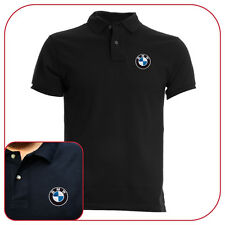 POLO T-SHIRT BLACK RICAMO EMBROIDERY PATCH BMW LOGO
