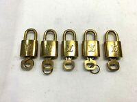 GENUINE LOUIS VUITTON PadLock Lock & Key 5 Piece Bags Brass Gold 0625014LV