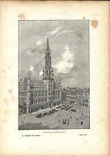 Stampa antica BRUXELLES Grand Place Belgio 1893 Old Antique Print