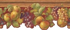 Wallpaper Fruit Border Apples Berries Grapes with Ivy on Red Crackle & Wood Trim