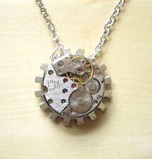 steampunk rock punk jewelry necklace choker pendant watch parts metal gear diy