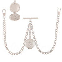 Brand New Sterling Silver  Colour Double Albert Pocket Watch  Chain With Locket