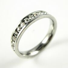 Titanium 3mm Eternity CZ Stainless Steel Engagement Wedding Band Ring Size 10