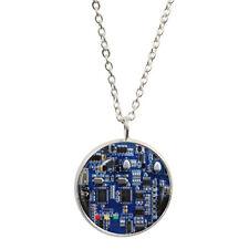 Circuit imprimé bleu pendentif & collier plaqué argent PCB résistance condensateur BNIB