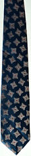 Men's New Neck Tie, Dark blue with brown red square dots by Leatherback Satins