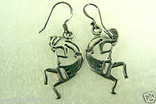 KOKOPELLI CHARM DROP STERLING SILVER 925 EARRINGS