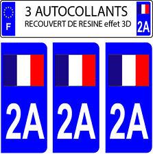 3 sticker plaque immatriculation auto DOMING 3D RESINE DRAPEAU FRANCAIS N° 2A