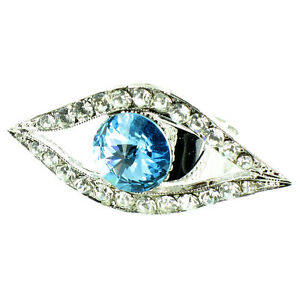 Blue and Clear Crystal on Silver Plated Evil Eye Ring