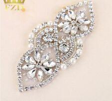 *SALE* Silver Pearl Crystal Applique Jewel Diamante Rhinestone Wedding Cake Sash