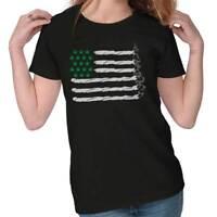 Funny Cannabis American Flag 420 Stoner CBD THC USA Joint Womens Tee T Shirts