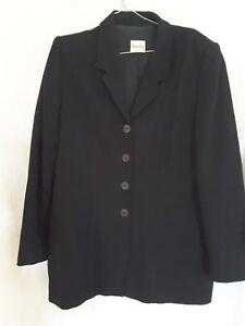 Viyella ladies smart career black jacket wool blend UK14/US 12/Euro 40