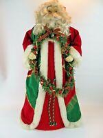 """Vintage 25"""" 2ft Standing Old World Santa Ceramic Face & Hands Christmas Figurine"""