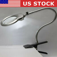 Large Lens Lighted Lamp Top Desk Magnifier Magnifying Glass w/ Clamp LED Light
