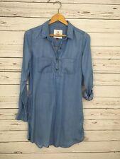 So Shirt Dress 100% Lyocell Blue Hidden Pockets Collar Tabbed Long Sleeve Size S