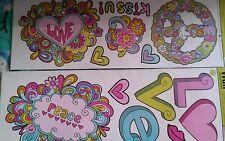 Girls theme peace love retro pink purple lime  Wall Sticker Walll decorWALL WORD