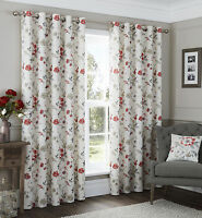 Eyelet Curtains Contemporary Floral Anya Red