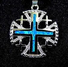 Sterling 925 Silver SF Pendant & Necklace Blue Lab Fire Opal JERUSALEM CROSS