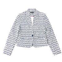 Mario Serrani Blazer SIZE 2 Womens Navy Blue White Print One Button Jacket XS