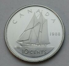 Canada 10 Cents 1988. KM#77.2. Proof Dime coin. BU. MS. UNC. Sailing. ⛵.