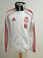 N815 MENS ADIDAS WHITE RED TRIM LIVERPOOL F.C TRACKSUIT TOP JACKET UK M EU 50