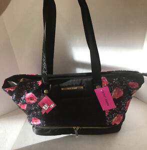Betsey Johnson Oversized Tote Bag Black/ Pink Roses Floral BB19370 NWT $108