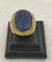 Wonderful Gold Gilding Vintage Massive Ring With Lapis Lazuli Ancient Calligraph