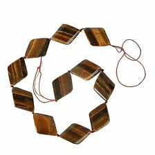 String of Large Diamond Shaped Tiger Eye Beads for Jewellery Making (TIG003S)