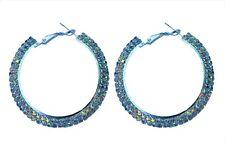 "AB Aurora Borealis 2"" Hoops Earrings 2 rows Ballroom Dance Prom Fitness Bikini"