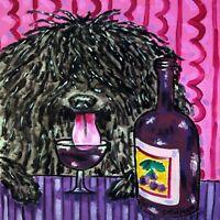 puli art ceramic TILE coaster dog gift JSCHMETZ wine pop art folk art modern art