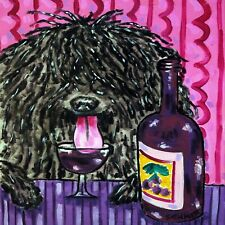 puli art ceramic Tile coaster dog gift Jschmetz wine pop art folk art modern art