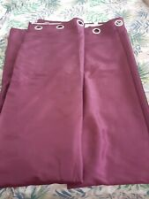 CURTAINS 66 X 90 FULLY LINED FLORAL BURGUNDY EYELITS LOVELY CONDITION