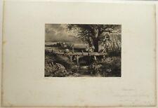 """Lithographie, François-Louis FRANCAIS, """" Pêcheurs sur le pont"""""""""""