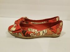 TORY BURCH Tasmin Espadrille Bow Flats WOMENS SZ 8 Floral Red Canvas Shoes