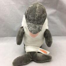 "Skimmer Dolphin Gray White Happy Face Plush 12"" Toy Lovey Bean Bag Melissa Doug"