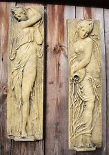 PAIR OF GARDEN WALL PLAQUES WATER BEARERS FOUNTAIN OF INNOCENTS frostproof stone