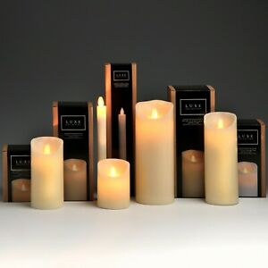 Real Wax LED Flickering Flame Pillar Candles   15 cm   Cream, Silver or White