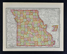 1911 McNally Map - Missouri St. Louis Kansas City Jefferson Columbia Springfield