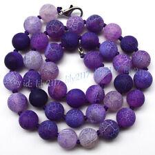 Purple 6/8/10mm Matte Dream Fire Veins Agate Gems Round Beads Necklace 14-55''