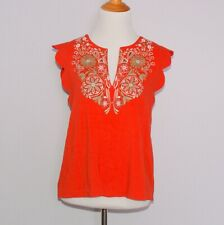 Anthropologie Akemi + Kin Red Binah Size S Embroidered Beaded Scalloped Top
