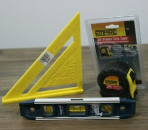 """Lot of Empire Tools - Square, 25' Tape Measure & 9"""" Magnetic Level"""
