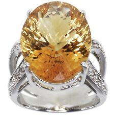 Citrine Gemstone 14.68 carat Sterling Silver Ring size P
