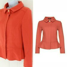 MarcCain Coral Cashmere Thick Jersey Gold Button Peplum Comfy Jacket Blazer 2 10