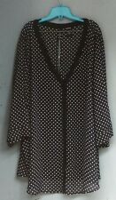 Torrid Women's Black & White See Thru Pokadoted Open Back Shirt Plus Size 5