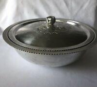Vtg Hammered Continental Silver Co.Inc. Wild Rose Embossed Covered Dish